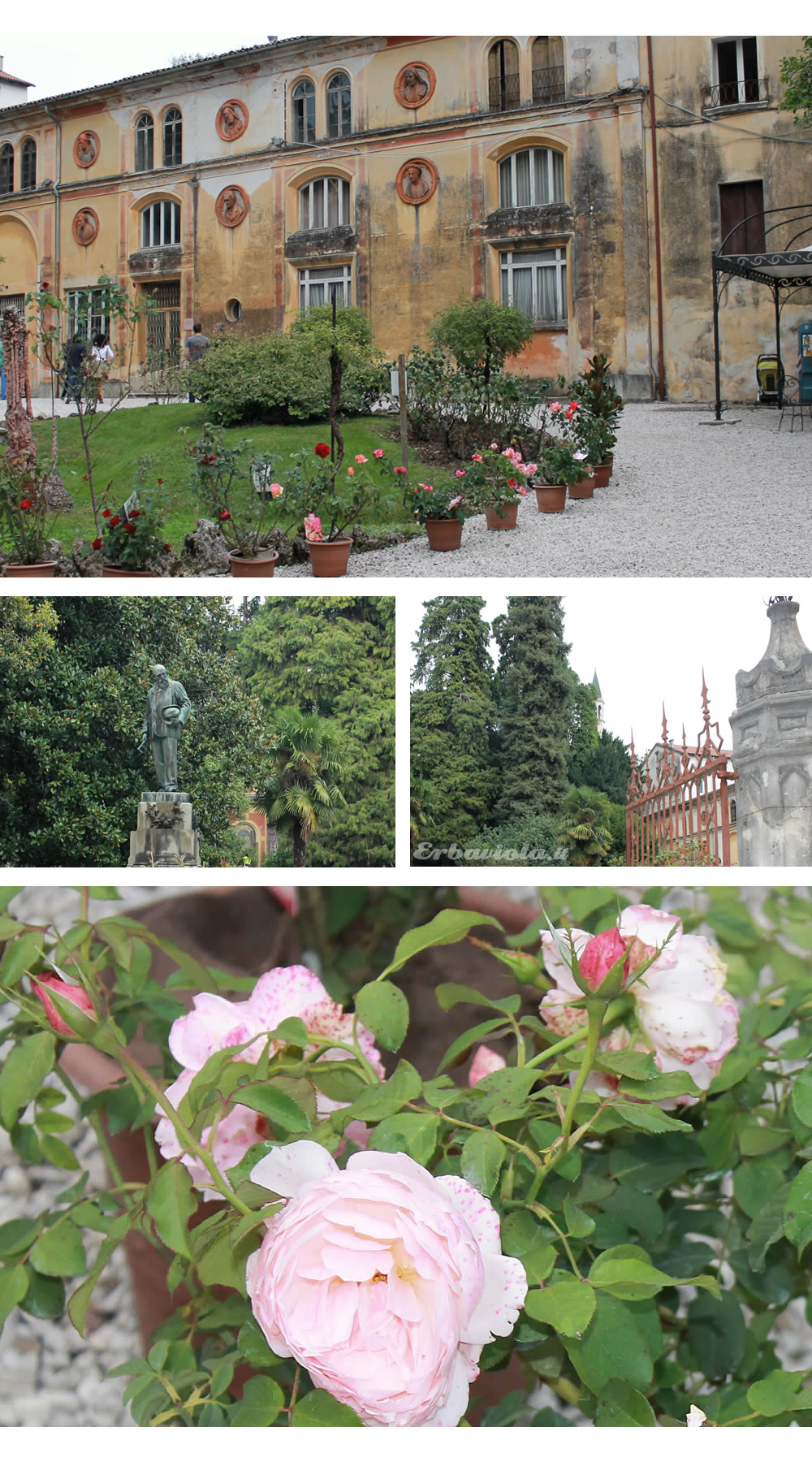 Ingresso Giardino Jacquard - Mostra delle rose - Statua Rossi