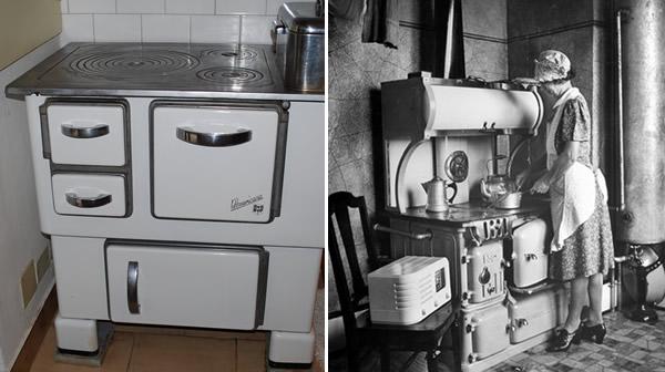 la cucina a legna ritrovata, una pubblicità di cucine a legna degli anni '40