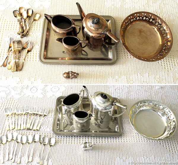 prima e dopo la pulizia senza fatica dell'argento