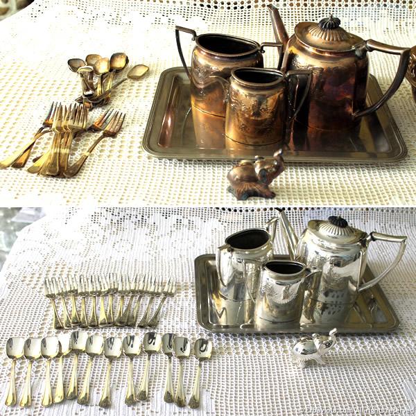 prima e dopo pulizia argento con pila chimica - erbaviola.com