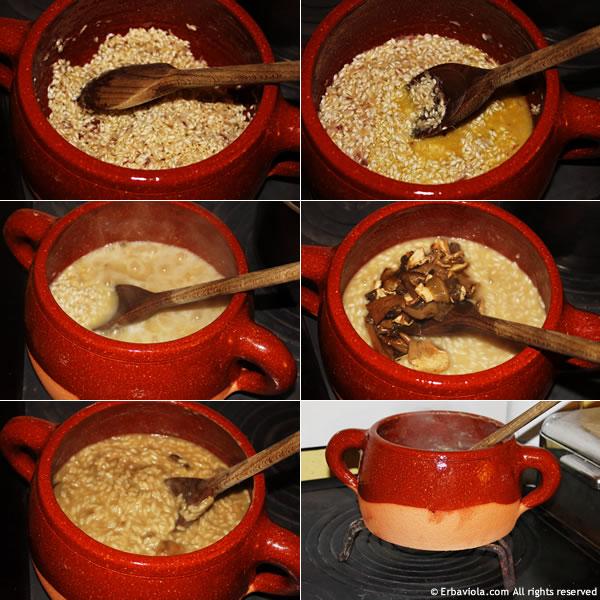 fasi del risotto ai funghi con la casseruola Bionatural