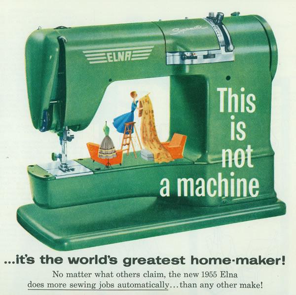 Pubblicità del 1955 della Elna Supermatic portatile