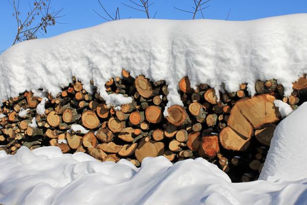 legna sotto la neve