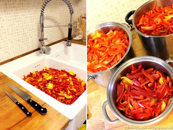 peperoni, lavaggio e taglio - erbaviola.com