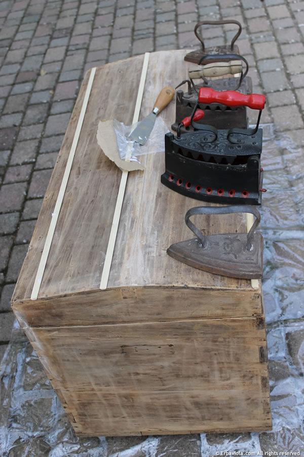 piegatura a vapore delle doghe per aderire alla parte superiore