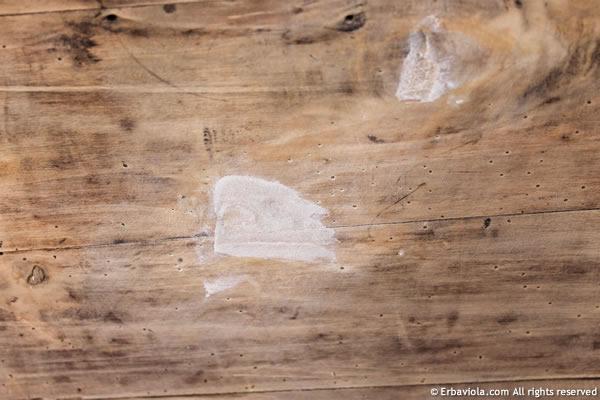 riempimento solo di buchi grandi con pasta di legno neutra