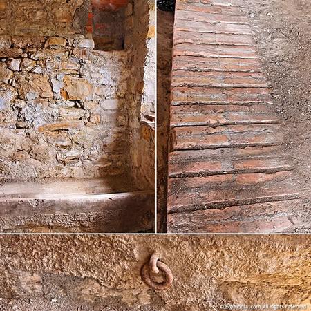 ex stalla: ganci, mangiatoia in pietra, mattoni di cotto