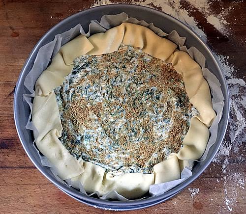 torta pasqualina vegan prima della cottura