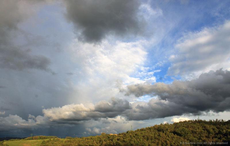 cielo a grandi nubi cariche di pioggia sull'orto di erbaviola