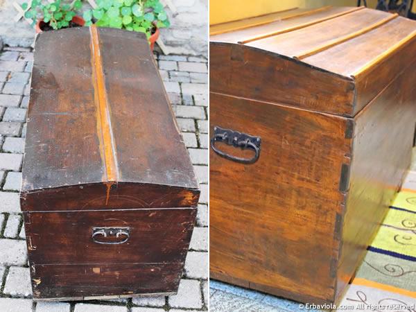 il baule prima del restauro e dopo il restauro - lato