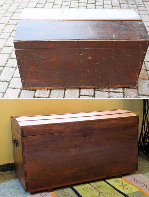 il baule prima e dopo il restauro - fronte