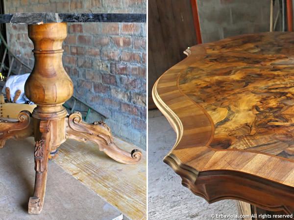 tavolo radica di noce in restauro erbaviola.com